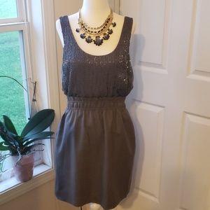 J Crew Dark Gray Embellished Sleeveless Dress Sz 8
